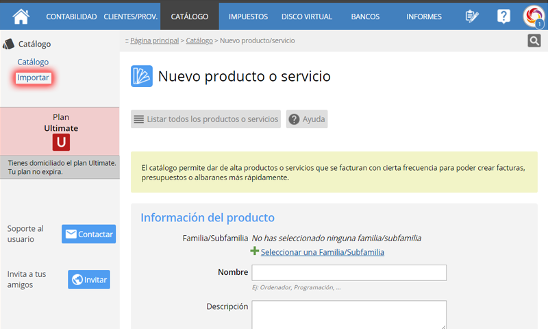 Importar productos y servicios al catálogo